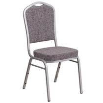 Advantage Crown Back Stacking Banquet Chair in Herringbone Fabric - Silver Frame [FD-C01-S-12-GG]