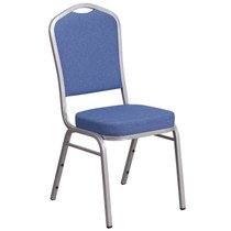 Advantage Crown Back Stacking Banquet Chair in Blue Fabric - Silver Frame [FD-C01-S-7-GG]