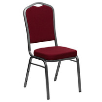 Advantage Crown Back Stacking Banquet Chair in Burgundy Fabric - Silver Vein Frame [FD-C01-SILVERVEIN-3169-GG]
