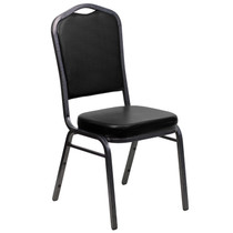 Advantage Crown Back Stacking Banquet Chair in Black Vinyl - Silver Vein Frame [FD-C01-SILVERVEIN-BK-VY-GG]