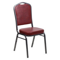 Advantage Crown Back Stacking Banquet Chair in Burgundy Vinyl - Silver Vein Frame [FD-C01-SILVERVEIN-BURG-VY-GG]
