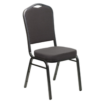 Advantage Crown Back Stacking Banquet Chair in Gray Fabric - Silver Vein Frame [FD-C01-SILVERVEIN-GY-GG]
