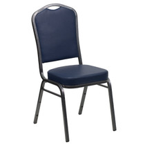 Advantage Crown Back Stacking Banquet Chair in Navy Vinyl - Silver Vein Frame [FD-C01-SILVERVEIN-NY-VY-GG]