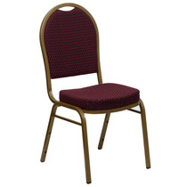 Advantage Dome Back Stacking Banquet Chair in Burgundy Patterned Fabric - Gold Frame [FD-C03-ALLGOLD-EFE1679-GG]