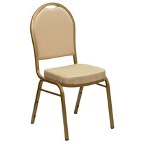 Advantage Dome Back Stacking Banquet Chair in Beige Patterned Fabric - Gold Frame [FD-C03-ALLGOLD-H20124E-GG]