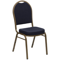 Advantage Dome Back Stacking Banquet Chair in Navy Patterned Fabric - Gold Frame [FD-C03-ALLGOLD-H203774-GG]