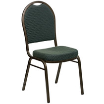 Advantage Dome Back Stacking Banquet Chair in Green Patterned Fabric - Gold Vein Frame [FD-C03-GOLDVEIN-4003-GG]