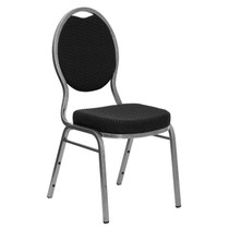 Advantage Teardrop Back Stacking Banquet Chair in Black Patterned Fabric - Silver Vein Frame [FD-C04-SILVERVEIN-S076-GG]