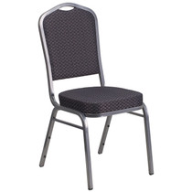 Advantage Crown Back Stacking Banquet Chair in Black Patterned Fabric - Silver Vein Frame [HF-C01-SV-E26-BK-GG]