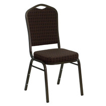 Advantage Crown Back Stacking Banquet Chair in Brown Patterned Fabric - Gold Vein Frame [NG-C01-BROWN-GV-GG]