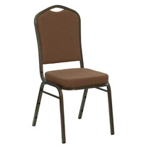 Advantage Crown Back Stacking Banquet Chair in Coffee Fabric - Gold Vein Frame [NG-C01-COFFEE-GV-GG]