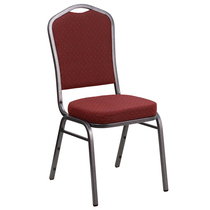 Advantage Crown Back Stacking Banquet Chair in Burgundy Patterned Fabric - Silver Vein Frame [NG-C01-HTS-2201-SV-GG]