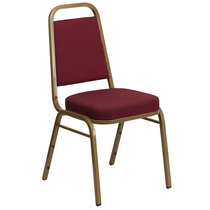 Advantage Trapezoidal Back Stacking Banquet Chair in Burgundy Patterned Fabric - Gold Frame [FD-BHF-1-ALLGOLD-0847-BY-GG]