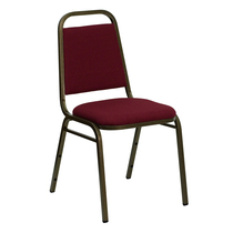 Advantage Trapezoidal Back Stacking Banquet Chair in Burgundy Fabric - Gold Vein Frame [FD-BHF-2-BY-GG]