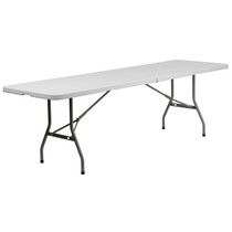 10-Pack Advantage 8-Foot Bi-Fold Granite White Plastic Banquet and Event Folding Table with Carrying Handle [10-RB-3096FH-GG]