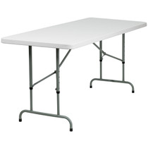 10-Pack Advantage 6-Foot Height Adjustable Granite White Plastic Folding Table [10-RB-3072ADJ-GG]