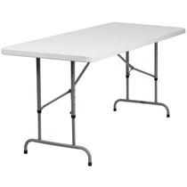 15-Pack Advantage 6-Foot Height Adjustable Granite White Plastic Folding Table [15-RB-3072ADJ-GG]