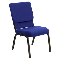 Advantage Basic 18.5''W Stacking Church Chair in Navy Blue Fabric - Gold Vein Frame [XU-CH-60096-NVY-GG]