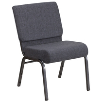 Advantage Basic 21''W Church Chair in Dark Gray Fabric - Silver Vein Frame [FD-CH0221-4-SV-DKGY-GG]