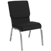 Advantage Basic 18.5''W Stacking Church Chair in Black Fabric - Silver Vein Frame [XU-CH-60096-BK-SV-GG]