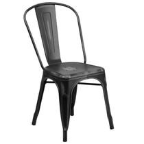 Advantage Distressed Black Metal Indoor-Outdoor Stackable Chair [ET-3534-BK-GG]