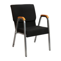 """HERCULES Series 21""""W Stacking Wood Accent Arm Church Chair in Black Fabric - Silver Vein Frame"""