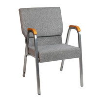 """HERCULES Series 21""""W Stacking Wood Accent Arm Church Chair in Gray Fabric - Silver Vein Frame"""