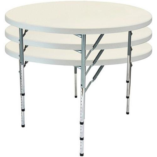 Advantage 4 ft. Round Adjustable Plastic Folding Table [FTD48R-ADJ] Seats 6 adults