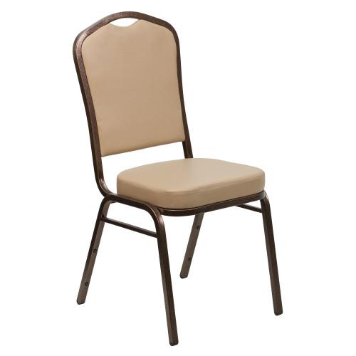 Advantage Tan Vinyl Crown Back Banquet Chair [FD-C01-COPPER-TN-VY-GG]