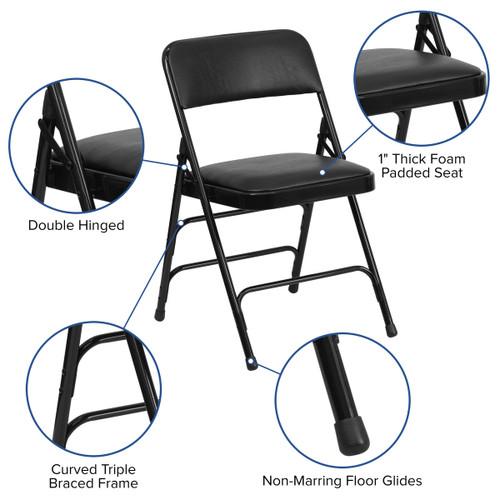 Phenomenal Advantage Black Padded Metal Folding Chair Black 1 In Vinyl Seat Ha Mc309Av Bk Gg Theyellowbook Wood Chair Design Ideas Theyellowbookinfo