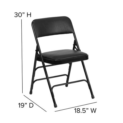 Fine Advantage Black Padded Metal Folding Chair Black 1 In Vinyl Seat Ha Mc309Av Bk Gg Bralicious Painted Fabric Chair Ideas Braliciousco