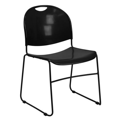 Advantage Black Plastic Stack Chair - Black Frame [RUT-188-BK-GG]