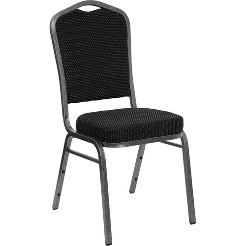 Advantage Crown Back Stacking Banquet Chair in Black Dot Patterned Fabric - Silver Vein Frame [FD-C01-SILVERVEIN-S076-GG]