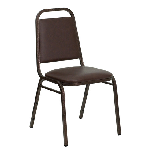 Advantage Trapezoidal Back Stacking Banquet Chair in Brown Vinyl - Copper Vein Frame [FD-BHF-2-BN-GG]