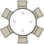 Advantage 4 ft. Round Wood Folding Banquet Table [FTPW-48R] seats 6 adults