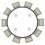 Advantage 6 ft. Round Wood Folding Banquet Table [FTPW-72R] seats 10 adults