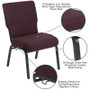 Advantage 20.5 in. Grape/Amethyst Molded Foam Church Chair [PCCF-103]