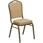 Advantage Crown Back Stacking Banquet Chair in Beige Patterned Fabric - Gold Frame [FD-C01-ALLGOLD-H20124E-GG]
