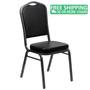 Advantage Crown Back Stacking Banquet Chair in Black Vinyl - Silver Vein Frame [FD-C01-SILVERVEIN-BK-VY-GG]