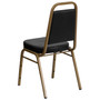 Advantage Trapezoidal Back Stacking Banquet Chair in Black Vinyl - Gold Frame [FD-BHF-1-ALLGOLD-BK-GG]