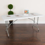 Advantage 6-Foot Height Adjustable Granite White Plastic Folding Table [RB-3072ADJ-GG]