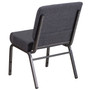 Advantage Basic 21''W Church Chair in Dark Gray Fabric - Silver Vein Frame [FD-CH0221-4-SV-DKGY-GG]