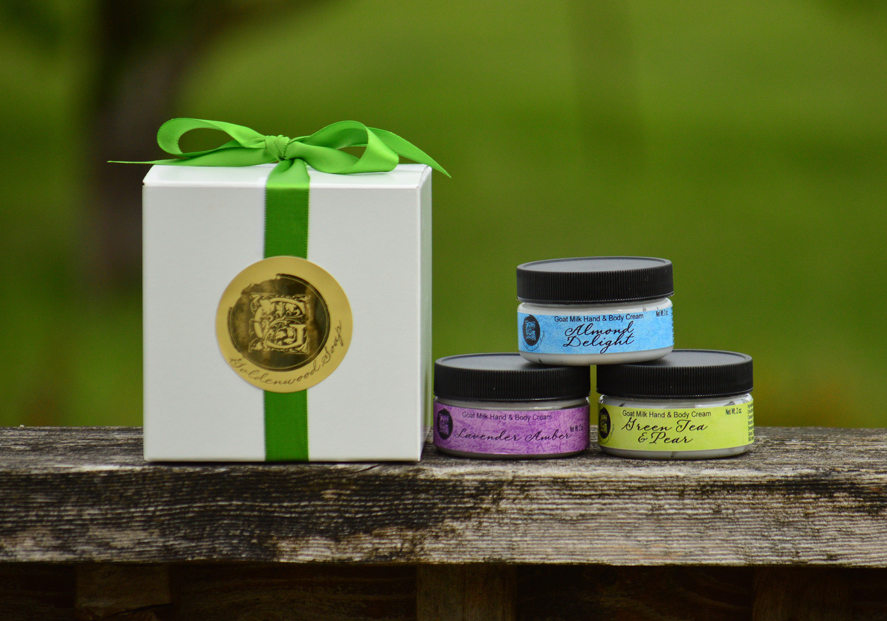 Create Your Own Gift Set #3 - Three of our 2oz Hand Crafted Goats Milk Hand & Body Creams