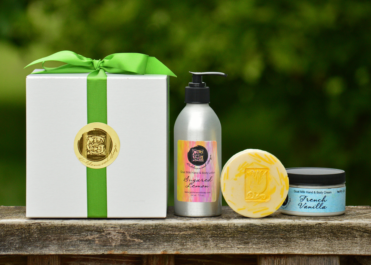 Create Your Own Gift Set Medium Combination - 1 Goats Milk Body Lotion 7.5 oz. - 1 Goats Milk Hand and Body Cream 4.25 oz. - 1 Hand Crafted Goats Milk Soap