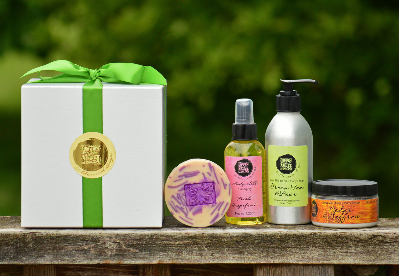 Create Your Own Gift Set Large Combination - 1 Hand Crafted Goats Milk Body Lotion 7.5 oz. - 1 Hand Crafted Goats Milk Hand and Body Cream 4.25 oz. - 1 Conditioning Body Spray 4.25 oz. - 1 Hand Crafted Goats Milk Soap