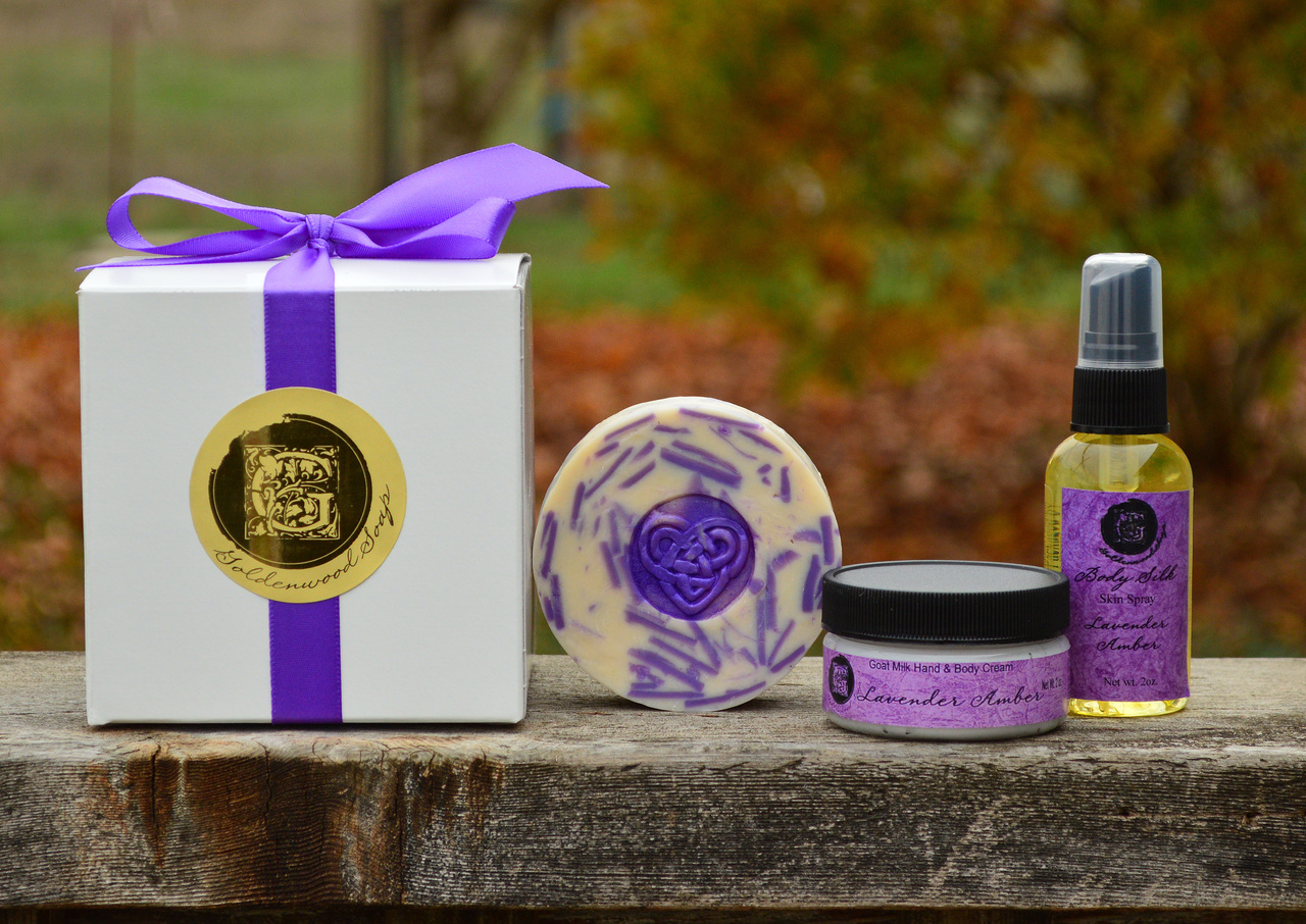 Lady Lavender Collection - Lady Lavender Classic Goat Milk Soap, 2oz Lavender Amber Goat Milk Hand Cream, 2oz Lavender Amber Body Spray.