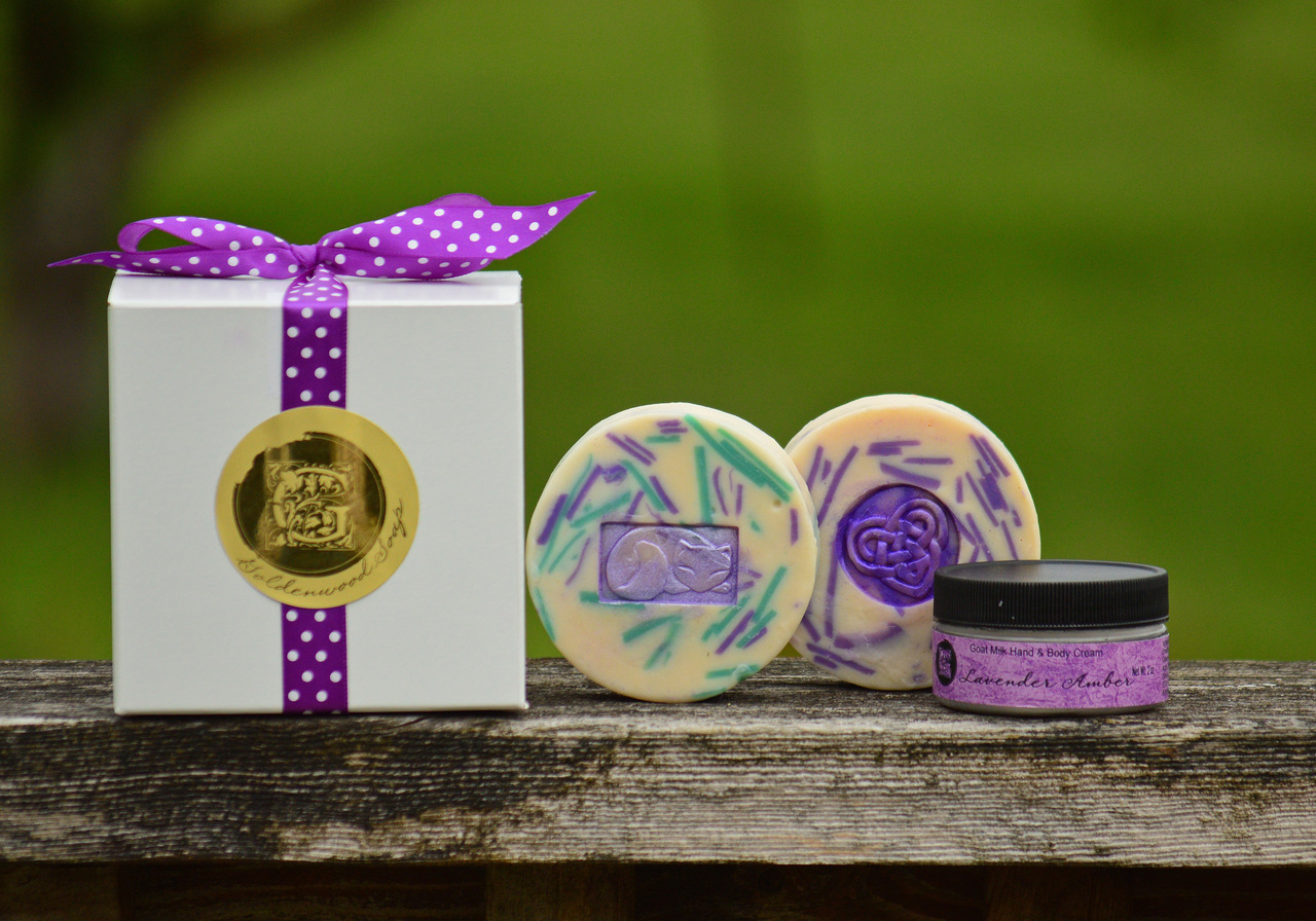 All Things Lavender Collection - Lady Lavender Classic Goat Milk Soap, English Lavender & Mint Classic Goat Milk Soap, Lavender Amber Goat Milk Hand Cream.