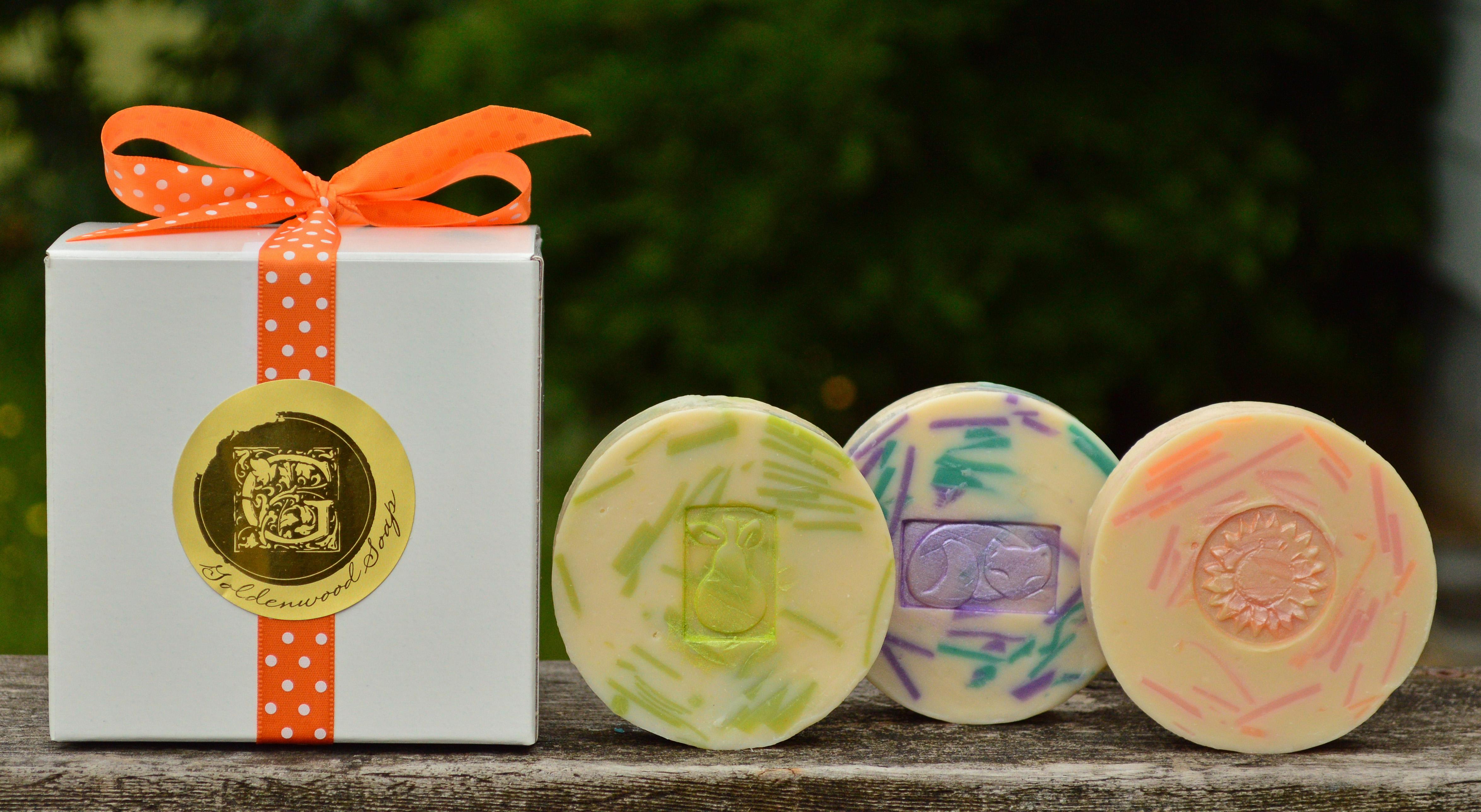Customer Favorites Soap Collection - Green Tea & Pear Classic Goat Milk Soap, English Lavender & Mint Classic Goat Milk Soap, Grapefruit Twist Classic Goat Milk Soap.