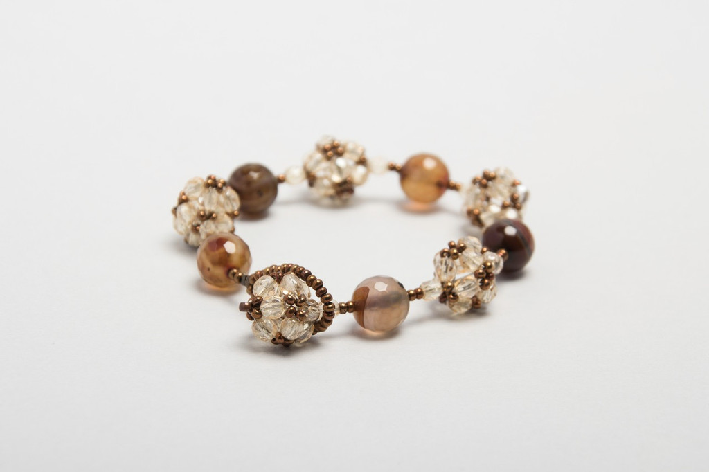 Knitted crystal and stone bracelet