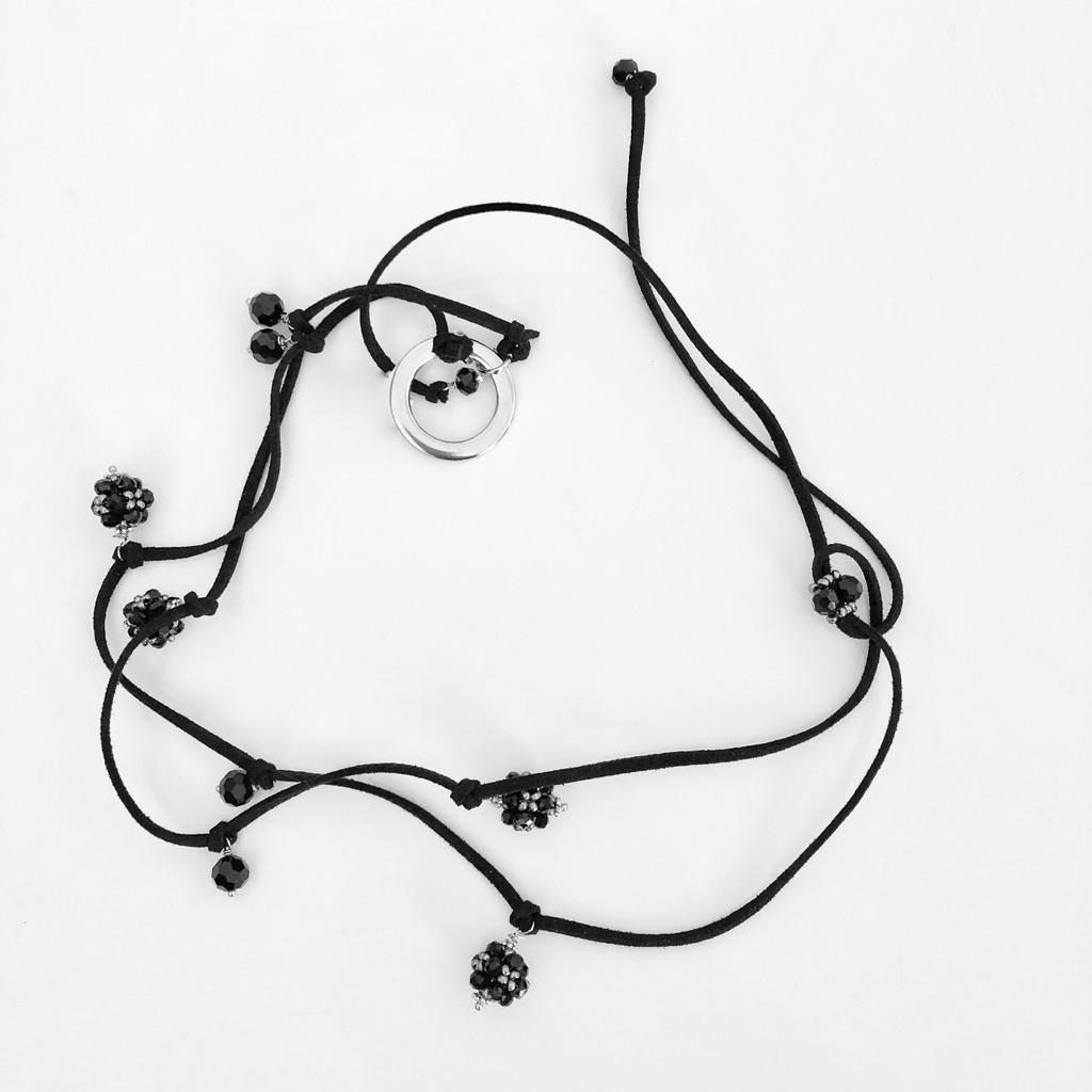 eyeglass holder black leather cord